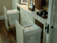 We did this for trash but never thought about laundry!! Great idea for main bath storage Laundry basket storage!