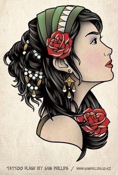 Gypsy tattoo flash by Sam Phillips art Head Tattoos, Line Tattoos, Small Tattoos, Sleeve Tattoos, Arabic Tattoos, Dragon Tattoos, Cool Tattoos, Tatoos, Tattoo Girls