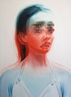"""Toronto-based artist Alex Garant paints stunningly surreal portraits of people who appear in double and triple vision. In a new series called Wakefulness, """
