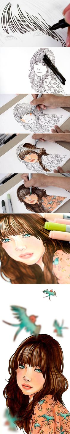 How to color with copics tutorial by Isis Marques