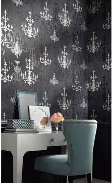 Luminary Wallpaper - How romantic, how enchanting is this whimsical wallcovering in matte and satin finish with raised lustrous inks. The design portrays ornate chandeliers in multiple shapes and sizes, some bold, some glittering and some in shadow. The hues include blacks with silver, pinks with silver and more. Hang your chandeliers along with Dream Weaver or Primal to complete the magic mood.