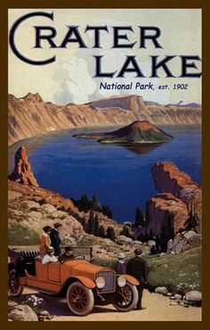 Quilt Blocks of vintage image printed on cotton. Ready to sew. Crater Lake National Park Set 1. Single 4x6 block $4.95. Set of 4 blocks with pattern $17.95.