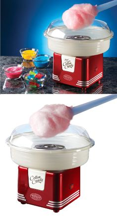 Transforms hard candy or sugar into delicious, fluffy cotton candy