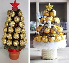 Christmas Gift Wrapping, Christmas Candy, Xmas Gifts, Christmas Holidays, Christmas Crafts, Christmas Decorations, Booze Bouquet, Candy Bouquet, Ferrero Rocher Tree