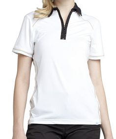 Another great find on #zulily! White & Black Taylor Zip-Up Polo by GGblue #zulilyfinds