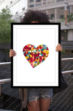 Inspirational Poster Rainbow Love Heart Geometric Home Decor Polygon Art    Love truly makes the world go round! This unique and stylish rainbow