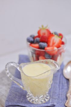 "My Foolproof Creme Anglaise is a sweet custard-like sauce, the name of which is French for ""English cream,"" and my method truly is foolproof. Vanilla Custard Sauce Recipe, Custard Recipes, English Custard Recipe, Dessert Sauces, Dessert Recipes, Creme Anglaise Recipe, Just Desserts, Delicious Desserts, Chocolates"
