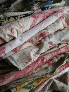 """""""Morceaux of 19th century textiles ready for the brocante..."""" (enticing post from simply-chateau brocante)"""