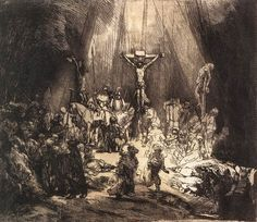 The Three Crosses second state by Rembrandt, 1653