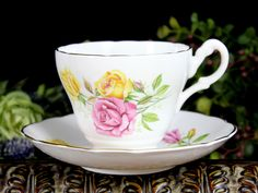 Consort Teacup, Cabbage Roses in Pink and Yellow, Vintage Bone China Cup and Saucer 12886