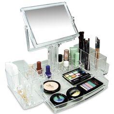 Acrylic Cosmetic Makeup Organizer With 2 Sided Mirror New Luxury Design Beauty  #IkeeDesign