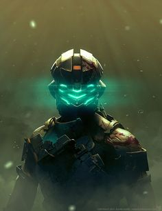 This concept art is for a game called Dead Space. It is incredibly detailed on the suit the character is wearing. The light is position behind the character, making his suit to look darker and more threatening. The mask is lit up by a glow of blue light. It looks as though the person who has created this piece of art, has used lens flair. Particles look as though they are floating in the air around him.