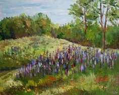 Lupines of Sunset Hill. White Mountain Paintings by my friend Barbara Busenbark