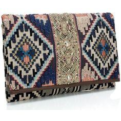 Accesorize Ikat Indigo Embroidered Clutch