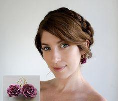 Flower earrings  satin flower earrings in purple by SchickiMickis,