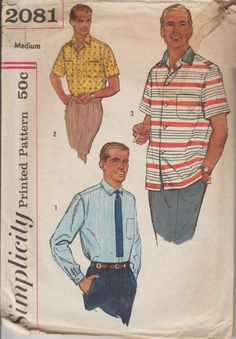1957 Mens Button Down Shirt with Pocket Sewing Pattern | 1950s Menswear Patterns | Vintage Simplicity 2081 | Short Sleeved Shirt Long Sleeve