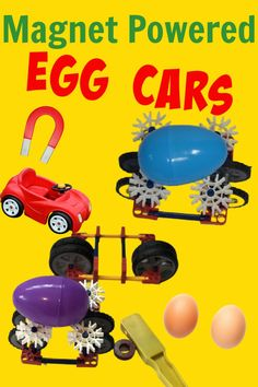 Create a magnet powered car for an egg as part of an Easter STEM Challenge. This would make a great science fair project or egg stem challenge too! Science Fair Projects, Science Experiments Kids, Science For Kids, Fun Projects, Plastic Easter Eggs, Power Cars, Stem Challenges, Magnets, Holidays With Kids