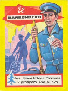 Durante mucho tiempo, llegadas las fechas navideñas, trabajadores que prestaban sus servicios al gran público se las i... Vintage Advertisements, Vintage Ads, Vintage Posters, Art Deco, Advertising, Baseball Cards, Journaling, Barcelona, Sports