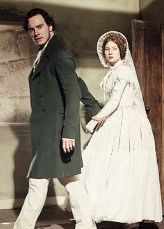 Michael Fassbender as Edward Rochester and Mia Wasikowska as Jane Eyre in Jane Eyre (2011).