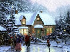 Skater Pond Thomas Kinkade winter art for sale at Toperfect gallery. Buy the Skater Pond Thomas Kinkade winter oil painting in Factory Price.