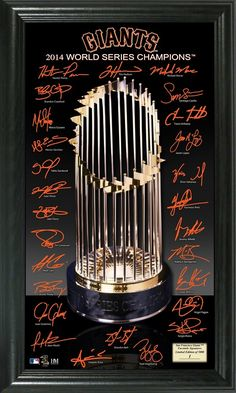 The perfect addition to any sports fan's sports room, this MLB San Francisco Giants 2014 World Series Champions Trophy Signature Photo is a must have. This photo features the signatures of the all the players on the roster and the World Series Trophy. San Francisco Giants Baseball, San Francisco 49ers, 2013 World Series, Champions Trophy, Mlb Teams, Sports Teams, My Giants, Buster Posey, Boston Red Sox