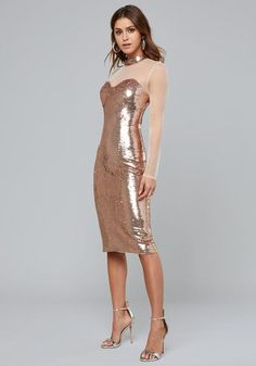 d4b30c42f8cc This sequin midi dress follows curves for flawless coverage
