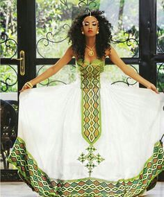 African Print Dresses, African Print Fashion, Africa Fashion, African Wear, African Attire, African Women, African Dress, Ethiopian Traditional Dress, Traditional Fashion