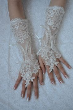 Extra Long  Original design Wedding Gloves ivory lace by newgloves, $40.00