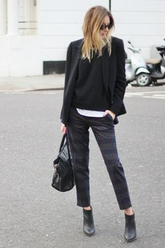 Zara check pants (similar here and here), black knit by H trend and blazer, an LNA tee, Maison Martin Margiela x H black booties and a Celine bag.  camilleovertherainbow.com