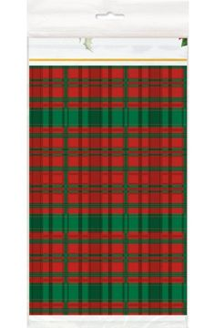 Poinsettia Plaid Tartan Plastic Tablecover - Christmas & Winter Party Decoration & Tableware Ideas