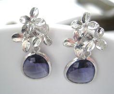 Dark Purple Earrings  Purple Flower Earrings  by Sparkleandswirl