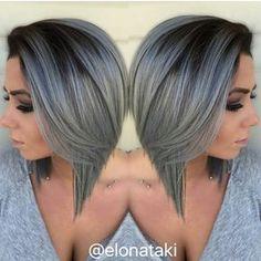 Dark roots and grey hair