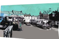 Tuesday is market day in Wirksworth, Derbyshire (my home town) (Print by Graeme Reed)