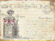 Bügelbild Postkarte Parfum Vintage Shabby 1731