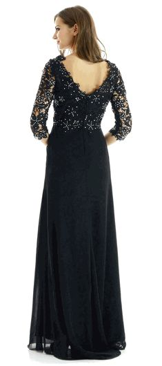 Black Chiffon Formal Gown Lace Top Adorned with Rhinestones #formalwear #dressformothers