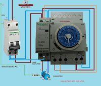 Esquemas eléctricos: contactor reloj analogico 2polos maniobra con pequ...