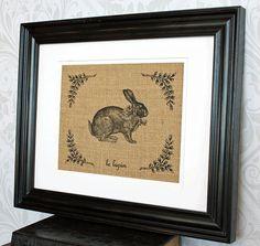 French Rabbit Le Lapin Burlap Wall Art - Paris Spring Easter Decor