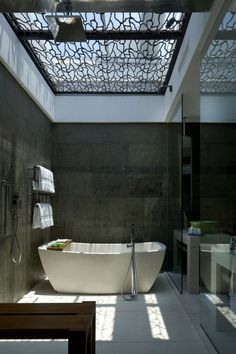 industrial bathroom, mosaic ceiling