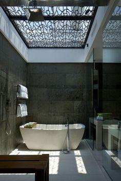 industrial bathroom, mosaic ceiling