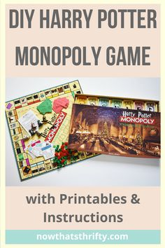 DIY Harry Potter Monopoly Game with FREE Printables <br> Create your DIY Harry Potter Monopoly Game with our step by step tutorial and FREE printables. Make this game for any Harry Potter lover! Harry Potter Board Game, Harry Potter Monopoly, Harry Potter Theme, Harry Potter Diy, Harry Potter World, Monopoly Cards, Monopoly Money, Monopoly Game, Harry Potter Halloween