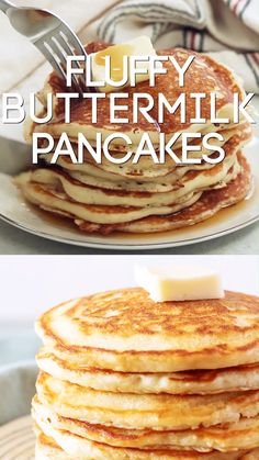 Easy Buttermilk Pancakes make a tasty breakfast any day of the week. These homem… Easy Buttermilk Pancakes make a tasty breakfast any day of the week. These homemade buttermilk pancakes made from scratch are the BEST! Homemade Buttermilk Pancakes, Butter Milk Pancakes Recipe, American Pancakes Buttermilk, Recipes With Buttermilk, Buttermilk Syrup, Pancakes And Waffles, Fluffy Pancakes, Best Pancake Recipe Fluffy, Breakfast Pancakes
