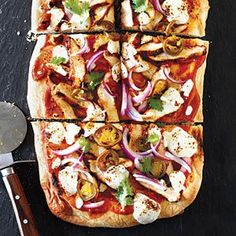 BBQ Chicken Pizza with Fresh Mozzarella and Pickled Jalapeños