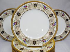 12 Cauldon for Tiffany Floral Chalice Dinner Plates