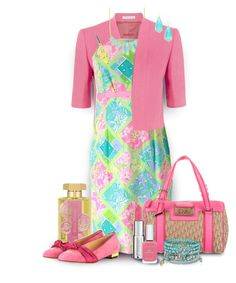 """""""Lilly Pulitzer Dress in Pink, Lime, & Aqua"""" by franceseattle ❤ liked on Polyvore featuring Fenn Wright Manson, Lilly Pulitzer, Rivka Friedman, L'Artisan Parfumeur, Christian Dior, Charlotte Olympia, Givenchy, Fashion Fair, Accessorize and Kendra Scott"""