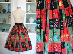 1950s Novelty Print Skirt / Vintage 50s Tribal Print Cotton Rockabilly Skirt by SavvySpinsterVintage