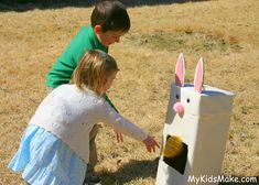 Bunny Bean Bag Toss—tons of fun for little ones from My Kids Make…