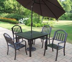 Oakland Living 6135-3830 Rochester 5-Piece Dining Set by Oakland Living. $852.89. Umbrella Color/Type:Brown Tilting, Cushion:Not Included, Chair Type:Non-Swivel  Oakland Rochester 40'x40' 5-Piece Dining Set  This 40 x 40 inch dining set is the perfect piece for any outdoor dinner setting. Just the right size for any backyard or patio. Table top is 40 inches by 40 inches and has an opening for an umbrella.  Each set includes one table and four dining chairs.  Harde...