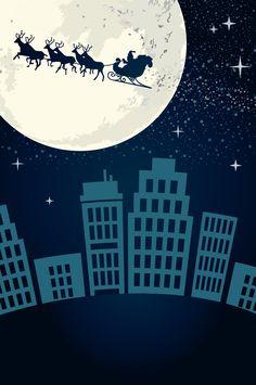 [フリーイラスト素材] イラスト, クリスマス, 12月, 行事 / イベント, 月, 夜, トナカイ, ソリ, サンタクロース, 都市 / 街, AI ID:201412160300