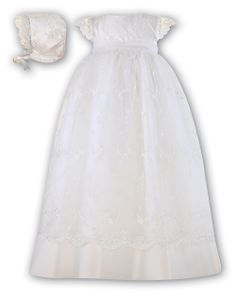 Sarah Louise Style 116 Embroidered Net Overlay Christening Gown & Bonnet