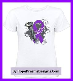 Screw Pancreatic Cancer Funny Shirts and Gifts featuring a large screw and a purple ribbon to defy it out loud by hopedreamsdesigns.com